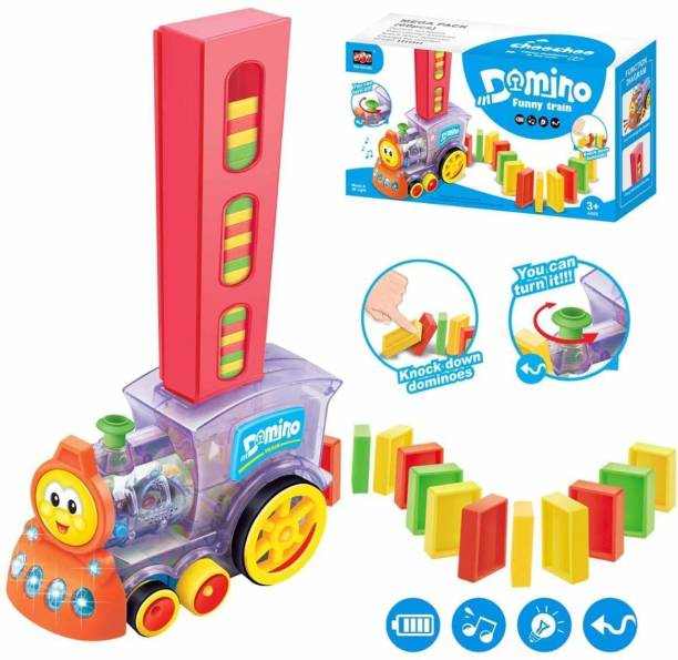 ARONET Domino Funny Train Choco Filling Dominos in The Rails - Battery Operated with Lights and Sounds Construction and Stacking Toy for Kids with 60 Multicolor Plastic Domino Tiles