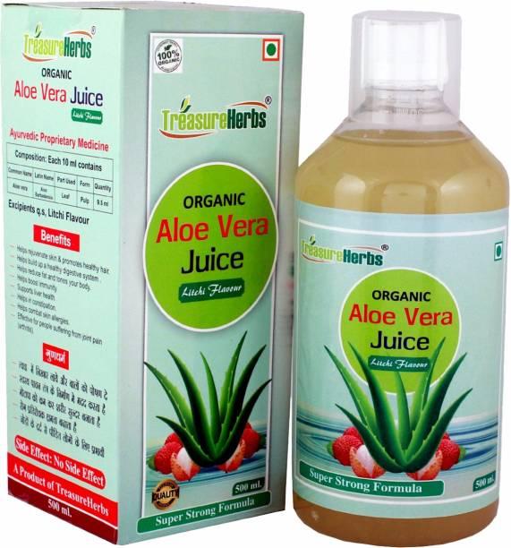 TreasureHerbs Aloevera Juice with Litchi flavour 500 ml