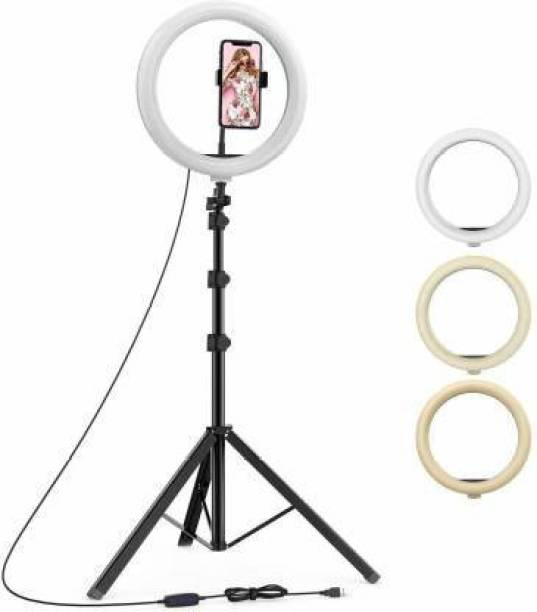 """KUDZU 12"""" inch LED Ring Light with 7 Ft Tripod Stand Combo and Phone Holder for Tiktok YouTube Reels Photo-shoot Video Live Stream Makeup Videos vlogging Vigo Video Shooting 