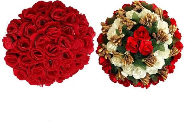 GuruEmbellish Artificial Flowers Gajra Bridal Bun/ Red Gajra Juda / For Women & Girls, Color-Red & White (Pack of 2) Bun Clip