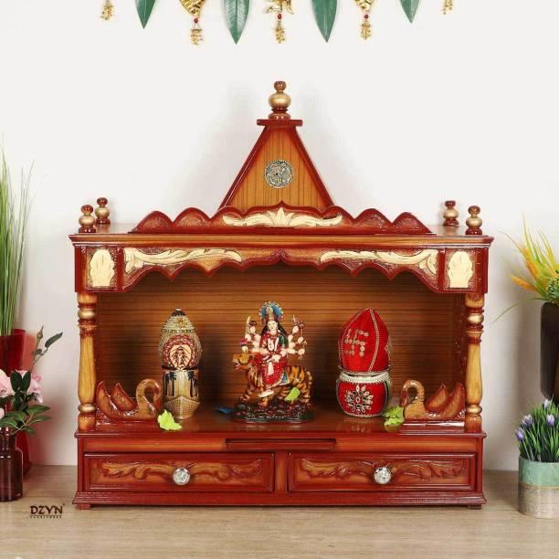 DZYN FURNITURES SukhatMan Large Pooja Mandir Wall Mount Solid Wood Home Temple