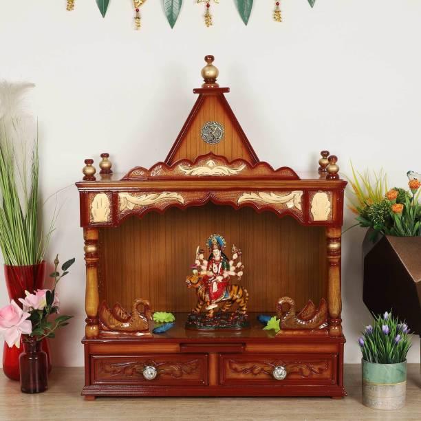 DZYN FURNITURES SukhatMan Medium Pooja Mandir Solid Wood Home Temple
