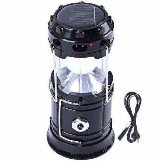 TSV LED Rechargeable Solar Emergency Light Lantern Black Plastic Table Lantern