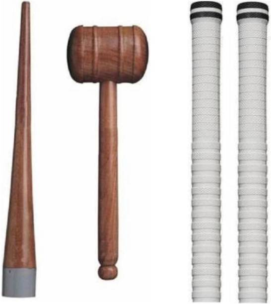 Rockjon Set Of 2 white Grips ,Cricket Bat Knocking Hammer with Handle Cone Wooden Bat Mallet