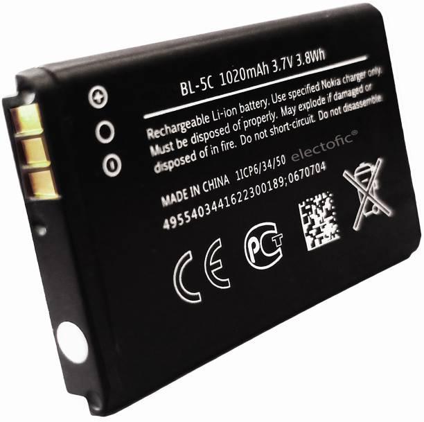 Electofic Mobile Battery For  NOKIA 5C BL5C AAA GRADE, 100, 101, 110, 114, 1100, 1101, 1110, 1112, 1200, 1208, 1209, 1600, 1616, 1650, 1680 classic, 1800, BL-5C Asha 202, Asha 203, Asha 205, 207, 208, 2300, 2310, 2323 classic, 2330 classic, 2600, 2610, 2626, 2700 classic, 2710 Navigation Edition, 2730 classic, 3100, 3109 classic, 3110 Classic, 3120, 3610 fold, 3650, 3660, 5030 XpressRadio, 5130 XpressMusic, 6030, 6085, 6230, 6230i, 6267, 6270, 6555, 6600, 6630, 6670, 6680, 6681, 6820, 6822, 7600, 7610, C1-00, C1-01, C1-02, C2-00, C2-01, C2-02, C2-03, C2-06, E50, E60, N70, N71, N72, N91, Ngage, Ngage QD, X2-01, X2-05