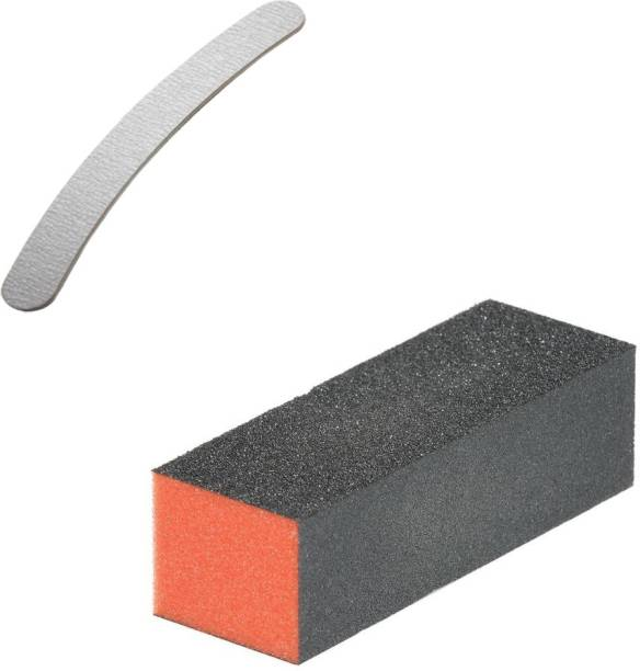 Shills Professional Nail Art Shiner Buffer Block Orange Buffing Sanding File and 1 high quality nail filer