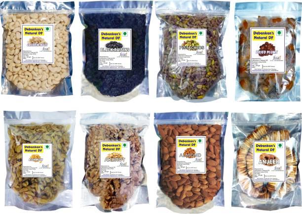 Debankan's Natural DF Combo Pack (8 x 100 gm Pack ) Almonds, Black Raisin,Figs, Pistachios, Raisins, Cashews,Prunes(Alu Bukhara), Walnuts(Akhrot) Cashews, Raisins, Pistachios, Prunes, Raisins, Walnuts, Almonds, Figs