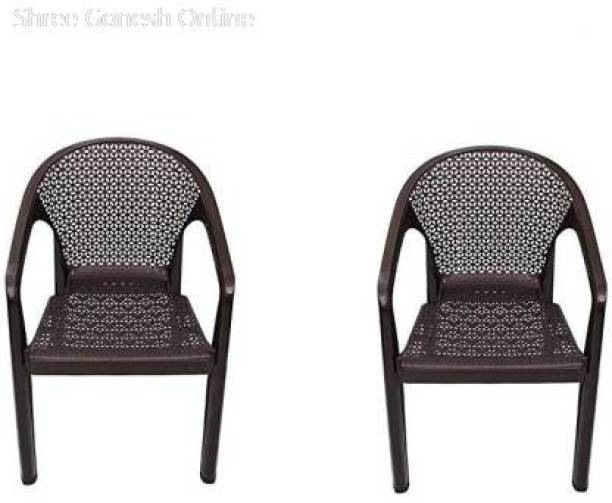 ITALICA ( SHREE GANESH ONLINE ) original seller 5202 oxy series chairs - modern stackable plastic standard armchair (matte finish, brown, set of 2) Plastic Outdoor Chair