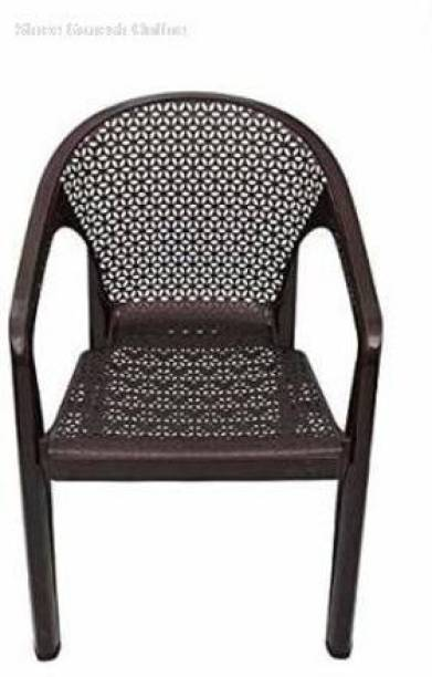 ITALICA ( SHREE GANESH ONLINE ) original seller 5202 Oxy Series Modern Stackable Plastic Armchairs (Set of 1, Brown) Plastic Outdoor Chair