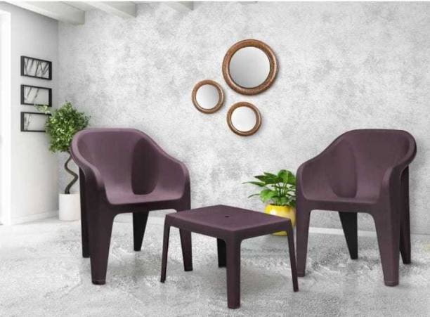Supreme FUTURA BROWN SET OF 2 CHAIR FULLY COMFORT nd weight bearing capacity 150 kg outdoor chair Plastic Outdoor Chair