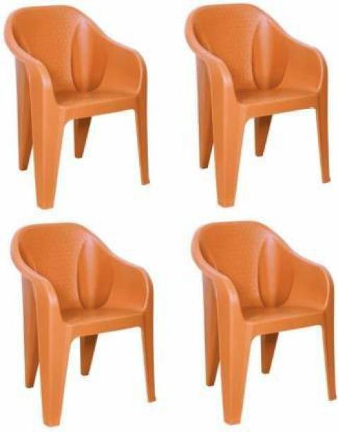 Highway Durable Sofa Chair for Home,Office & Restaurant Large Size Orange Color Plastic Outdoor Chair