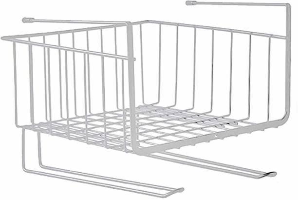 CYALERVA Multifuncational Under Cabinet Shelf Storage Basket with Wire Rack Organizer Storage for Kitchen Bedroom & Bathroom White Colours Stainless Steel Wall Shelf