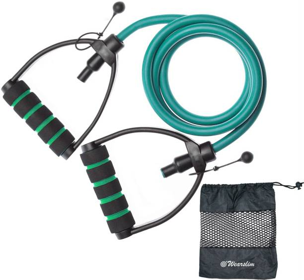 Wearslim Exercise Resistance Bands Toning Tube With Comfortable D Handle Color-Green Resistance Tube