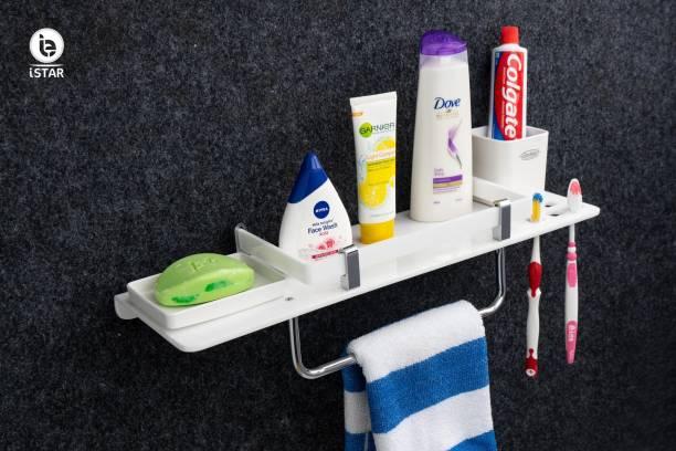 iSTAR Stainless Steel 4 in 1 Multipurpose Bathroom Shelf – Soap Dish - Tumbler Holder – Toothbrush Holder – Towel Holder - Hanger - Towel Rod Bathroom Accessories Silver Towel Holder