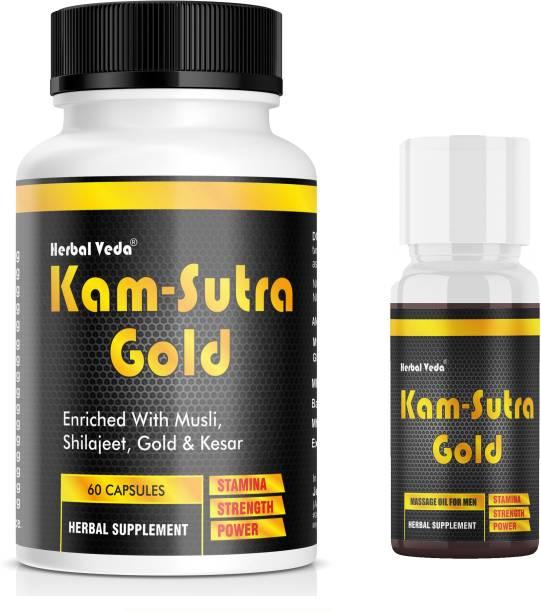 herbal veda Kamasutra Gold Capsule Oil Combo (60 Cp & 30ml)