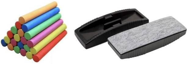 officekart Regular Colour Chalk with Blackboard Duster Dusters