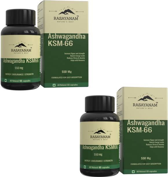 Rasayanam Ashwagandha KSM-66 (550 mg) PACK OF 2| Extra Strength Natural Formulation | Support strength & energy | Withania Somnifera Extract - 60 Vegetarian Capsules