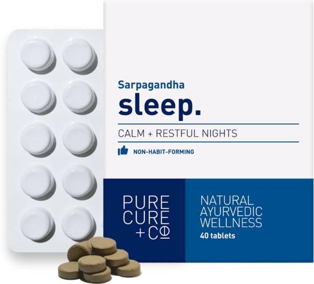PURECURE+CO Sleep Natural Ayurvedic Non-Habit Forming Formula Sleeping Aid Pills 250 Mg Tablets