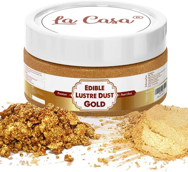 La Casa Premium Edible Lustre Dust - SPARKLING GOLD   Pearl Dust Ideal for Cake Icing Decoration & Garnishing   Glitters