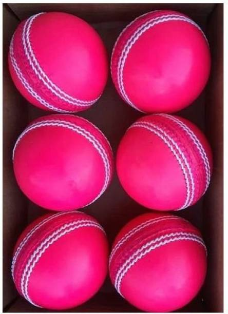 HIDE OUT Cricket ball pack of 6 pink leather cricket ball Cricket Leather Ball