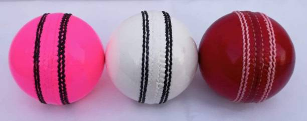 HIDE OUT Cricket ball pack of 3 in which 1 red 1 white and 1 pink Cricket Leather Ball