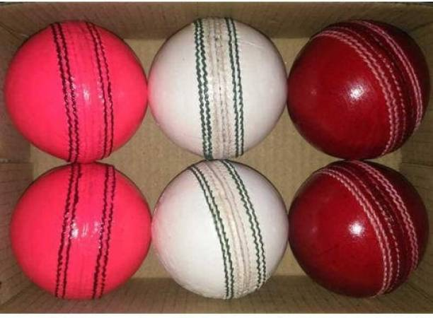 HIDE OUT Cricket ball pack of 6 in which 2 red 2 white and 2 pink Cricket Leather Ball