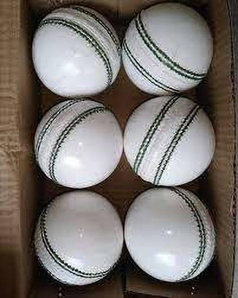 HIDE OUT Cricket ball pack of 6 white cricket leather ball Cricket Leather Ball