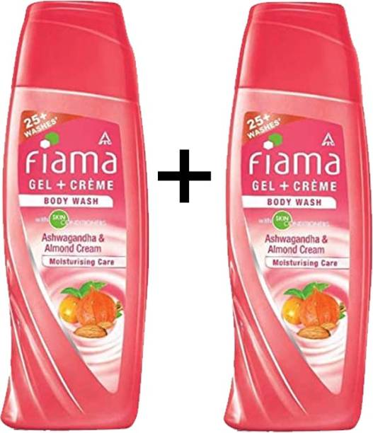 FIAMA GEL + CREAME BODY WASH ASHWAGANDHA & ALMOND CREAM WITH SKIN CONDITIONERS 200ML X 2