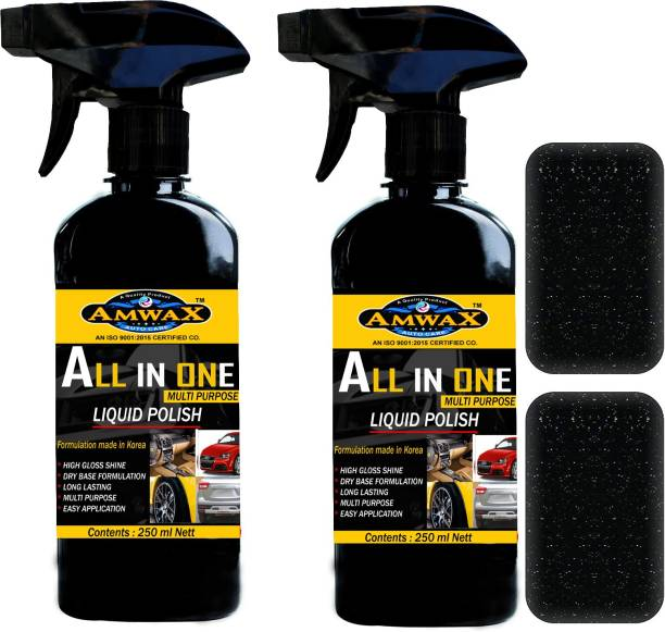 amwax Liquid Car Polish for Leather, Tyres, Dashboard, Exterior, Bumper