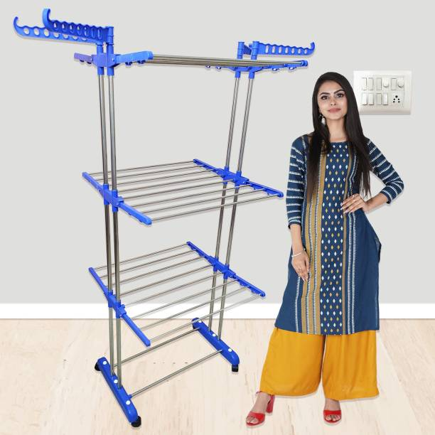 TNC by TNC Steel Floor Cloth Dryer Stand T-CDS-3TIER-B2SS-0154