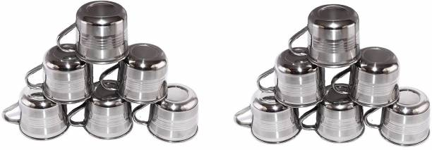 SEREE Pack of 12 Stainless Steel Single Wall Stainless Steel Tea and Coffee Cup Set(PACK OF 12 ,STEEL)