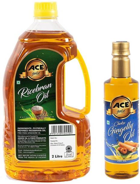 Ace Gold Physically Refined Ricebran Oil + Cheku Gingelly Oil (Free) Rice Bran Oil Plastic Bottle