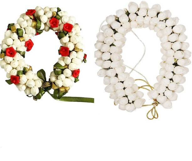 Maahal Artificial Flower Juda/Gajra For Women/Girls,Pack -02,Color-Mutli Hair Accessory Set