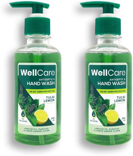 Wellcare Antiseptic Hand Wash, 250 ml   pH Balanced   with Tulsi & Lemon extracts (Pack of 2) Hand Wash Pump Dispenser