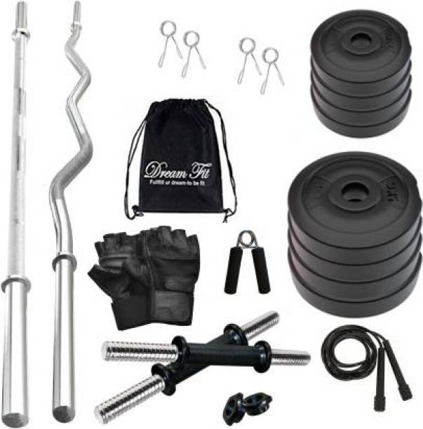 DreamFit 30 kg 30 Kg PVC weight Home Gym with straight rod, curl rod , Gym Bag and Accessories Home Gym Combo