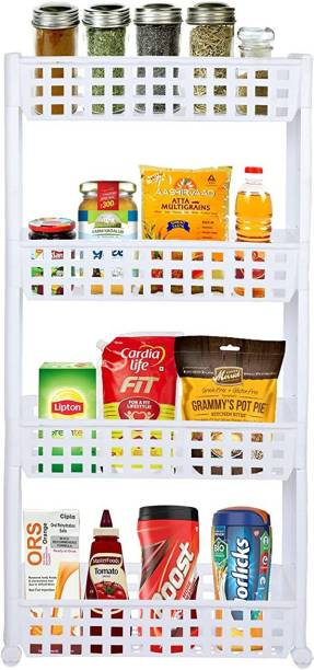 Cutting EDGE 4 Layer | White | SLIM Classic - Smart Storage Organizer – Multipurpose & Easy-To-Move Slide Out Layered Shelf Basket Rack Trolley EcoPlastic With Wheels for Kitchen | Bedroom | Bathroom | Home | Pantry | Washing & Utility Area Plastic Kitchen Trolley