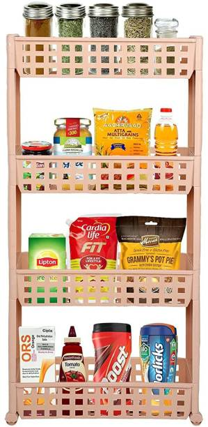 Cutting EDGE 4 Layer | Beige | SLIM Classic- Smart Storage Organizer – Multipurpose & Easy-To-Move Slide Out Shelf Basket Rack Trolley EcoPlastic With Wheels for Kitchen | Bedroom | Bathroom | Home | Pantry | Washing & Utility Area Plastic Kitchen Trolley
