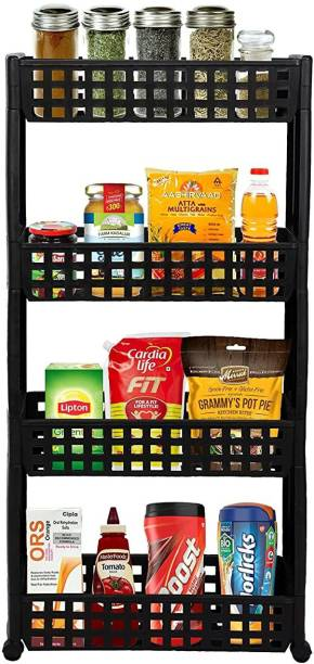 Cutting EDGE 4 Layer | Black | SLIM Classic - Smart Storage Organizer – Multipurpose & Easy-To-Move Slide Out Layered Shelf Basket Rack Trolley EcoPlastic With Wheels for Kitchen | Bedroom | Bathroom | Home | Pantry | Washing & Utility Area Plastic Kitchen Trolley