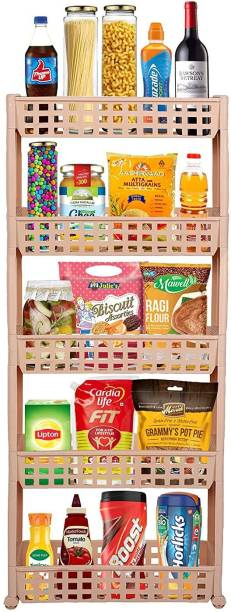 Cutting EDGE 5 Layer | Beige | SLIM Classic- Smart Storage Organizer – Multipurpose & Easy-To-Move Slide Out Shelf Basket Rack Trolley EcoPlastic With Wheels for Kitchen | Bedroom | Bathroom | Home | Pantry | Washing & Utility Area Plastic Kitchen Trolley
