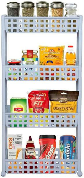 Cutting EDGE 4 Layer | Grey | SLIM Classic Luxe- Smart Storage Organizer – Multipurpose & Easy-To-Move Slide Out Shelf Rack Trolley (Plastic) With Wheels for Kitchen | Bedroom | Bathroom | Home | Pantry | Washing & Utility Area Plastic Kitchen Trolley