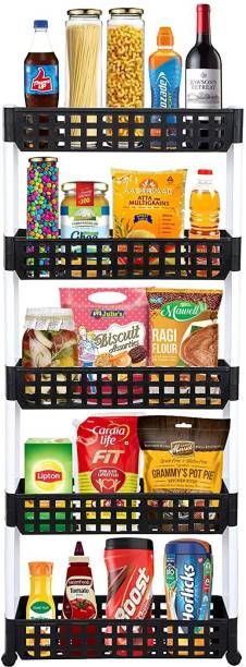 Cutting EDGE 5 Layer | Black & White | SLIM Classic Luxe- Smart Storage Organizer – Multipurpose & Easy-To-Move Slide Out Shelf Rack Trolley (Plastic) With Wheels for Kitchen | Bedroom | Bathroom | Home | Pantry | Washing & Utility Area Plastic Kitchen Trolley