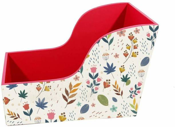 EW Small Book Shelves Rack Heavy Duty Book Rack Stand for Table and Wall Shelves to Hold Books, Magazines, Cookbooks (Pattern Flower Design) (Red) Table Top Magazine Holder