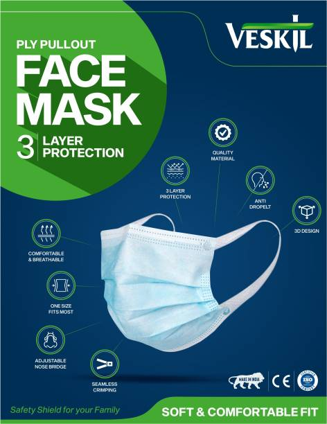 Veskil Surgical Mask Disposable 3 Ply Mask With Nose Pin, Unbreakable Ear loops (Ultrasonically Welded) & Ultra Soft Ear loops (which does not hurt ears) 3 Layer Pharmaceutical Breathable disposable Surgical Pollution Face Mask For Men, Women, Kids 3 Layer Pharmaceutical mask Surgical Mask With Melt Blown Fabric Layer ATMKPPEBL1460(P50) Surgical Mask With Melt Blown Fabric Layer