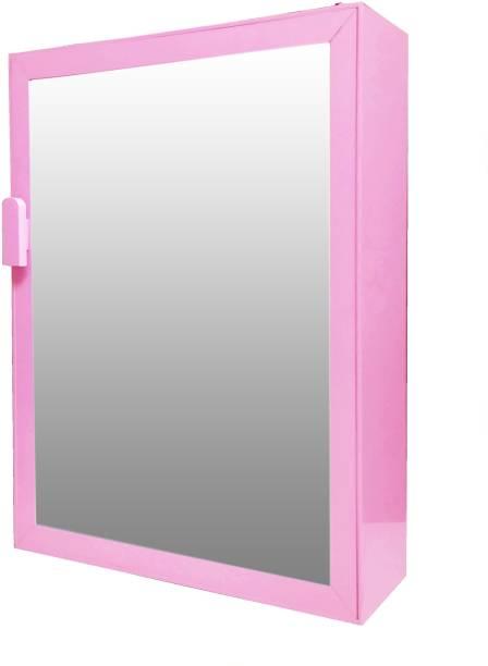 WINACO New Payal pink Plastic bathroom Mirror Cabinet Fully Recessed Medicine Cabinet