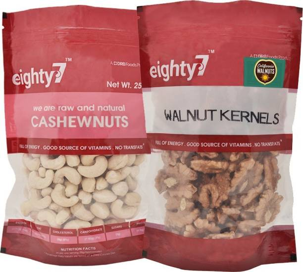 Eighty7 California Walnuts Kernels(180g) and Cashews(250g) Assorted Nuts