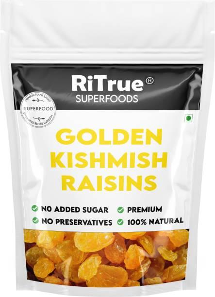RiTrue 1 KG Value Pack Golden Raisins ( Kishmish / kismis ) Dry Fruit - Natural & Organic Raisins