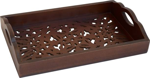 """The Urban Store Decorative and Handcrafted Wooden Serving Tray ,Floral ,Brown- 14""""x9""""x3"""". Tray"""