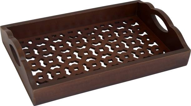 The Urban Store Decorative and Handcrafted Wooden Serving Tray ,Brown- Tray