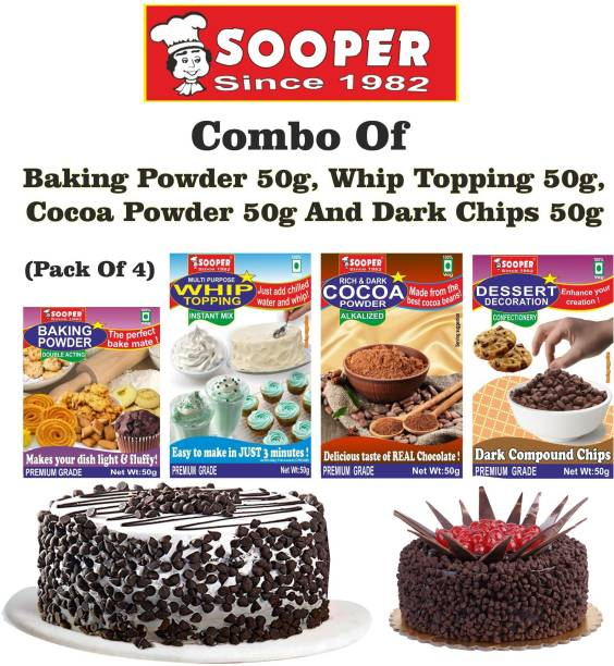 SOOPER BAKING POWDER + WHIPPING CREAM MIX + COCOA POWDER + DARK CHOCO CHIPS COMBO Topping Solid