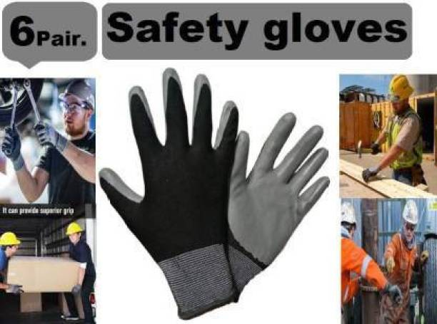 QTM 6 pair safety hand gloves, HOME CLEANING AND RUFF USE , RESUABLE HAND GLOVES , MAN AND WOMAN Synthetic, Rubber  Safety Gloves